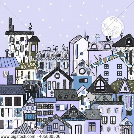 Nightlife Metropolitan Cityscape With Stars Illustration City