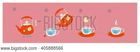 Instructions For Brewing A Tea Bag. 4 Steps To A Fragrant Cup Of Tea, A Teapot With Boiled Water. Te