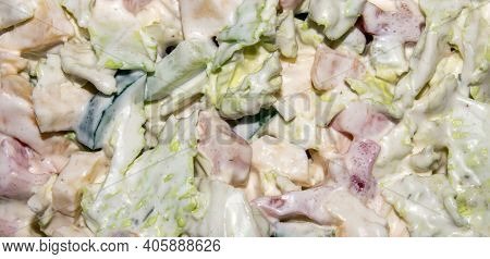 Vegetable Salad With Peking Cabbage, Cucumber And Tomato.background Summer Vegetable Salad.vegetable