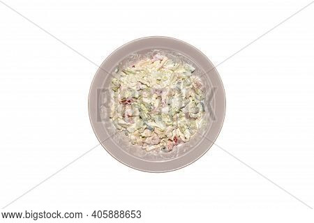 Vegetable Salad With Peking Cabbage On A Plate On A White Background.plate With Vegetable Salad Top