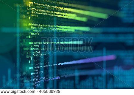 Abstract Modern Tech Of Programming Code Screen Developer. C Programming Language Of Computer Script