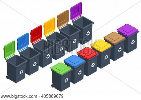 Isometric Garbage Containers Of Different Types. Sorting Paper, Plastic, Metal, Bio, E-waste And Gla