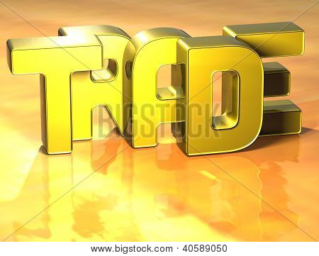 3D Word Trade On Yellow Background