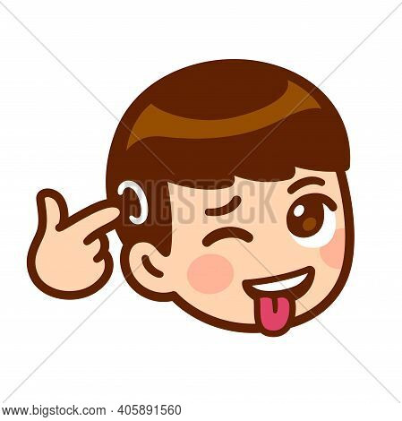 Funny Cartoon Crazy Face With Tongue Sticking Out And