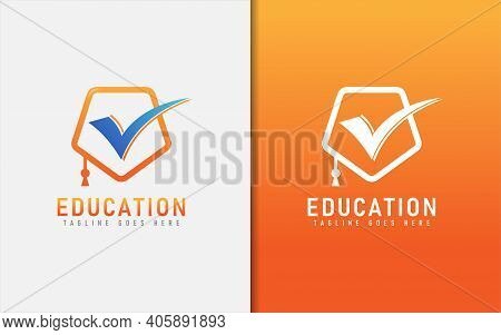 Education Logo With Graduation Toga Hat And Smart Tick Inside The Logo. Graphic Design Element.