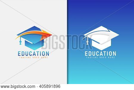 Education Logo With Graduation Toga Hat And Direct Arrow Inside The Logo. Graphic Design Element.