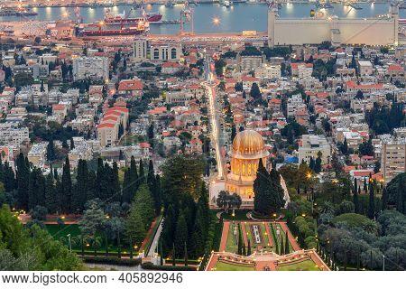Evening View Of The Bahai Garden And Haifa, Israel .