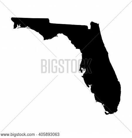 United States Florida Icon On White Background. Florida State Sign. Black Map Of Florida. Flat Style