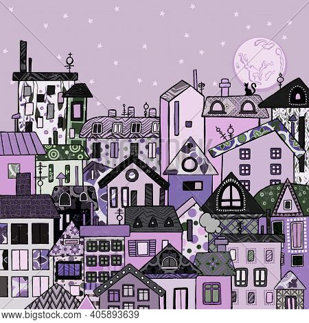 Nightlife Metropolitan Cityscape With Stars. High Quality Illustration