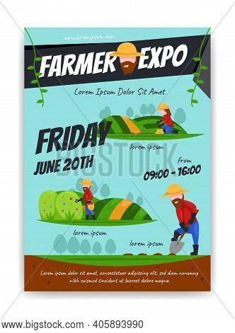 Farmer Expo Exhibition Poster Illustration Flat Cartoon Style