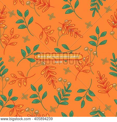 Branch With Leaves On Orange Background Cartoony Seamless Pattern