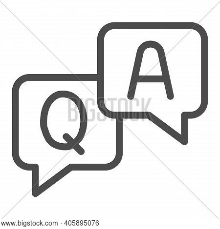 Question And Answer Dialogues Line Icon, Online Education Concept, Q And A Word In Speech Bubble Sig