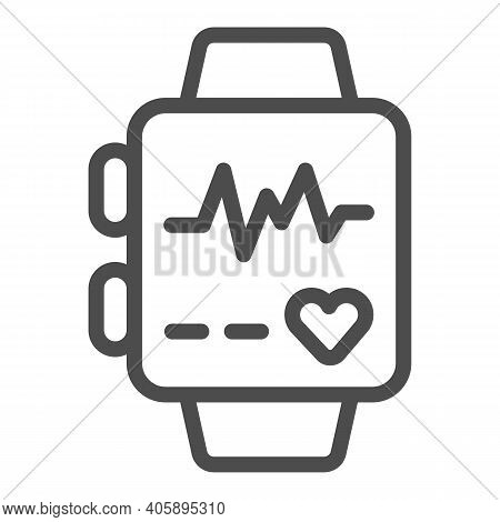 Smart Watch With Heart Rate Line Icon, Diet Concept, Smart Watch With Health App Sign On White Backg
