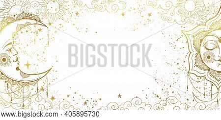 White Magic Background With Sleeping Golden Sun With Face And Crescent Moon, Space Pattern With Copy