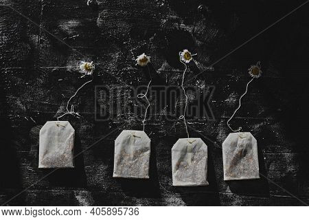Tea Bags And Chamomile Flowers On Dark Wooden Background/ Conceptual Image Of Tea Time/ Herbal Chamo