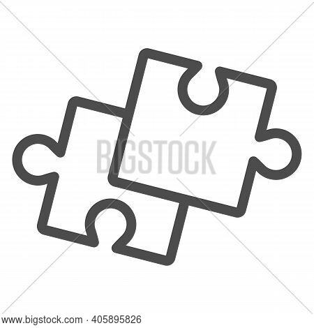 Two Pieces Of Puzzle Line Icon, Startup Concept, Puzzle Game Sign On White Background, Two Jigsaw Se