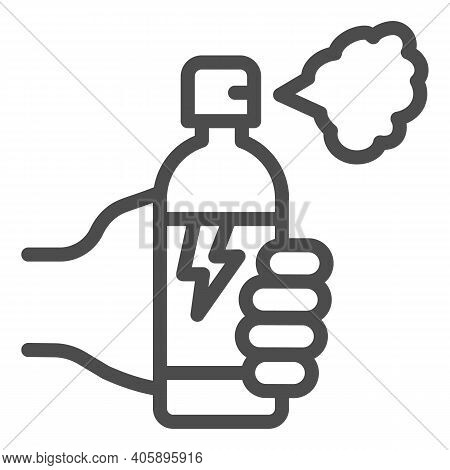 Hand With Balloon Of Poison For Insects Line Icon, Pest Control Concept, Insect Spray Sign On White