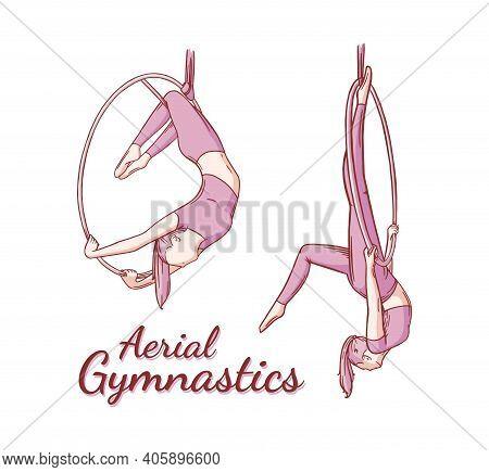 Aerial Female Gymnast Set. Aerial Gymnastics Strength Iproving Pose. Colored Engraved Vector Illustr