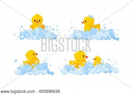 Rubber Duck Family In Soap Foam Isolated In White Background. Set Of Yellow Plastic Duck Toys In Sud