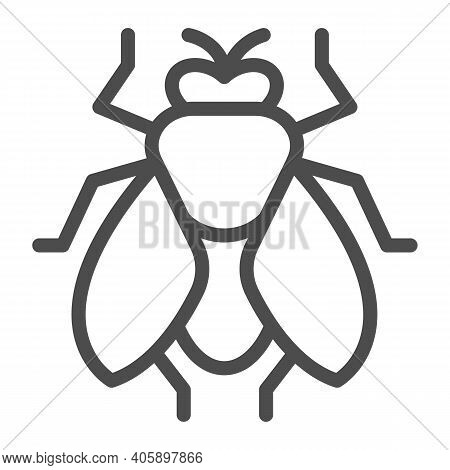 Fly Line Icon, Pest Control Concept, Insect Sign On White Background, Fly Silhouette Icon In Outline