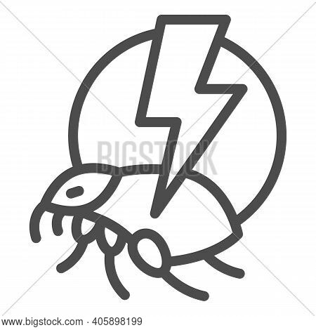 Flea And Lightning Line Icon, Pest Control Concept, Flea Warning Sign On White Background, Catch Bed