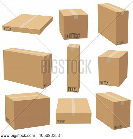 Set Of Cardboard Boxes Mockups. Carton Delivery Packaging Box. Vector 3d Illustration Isolated White