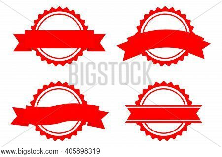 Vector Set, Template 4 Different Style Blank Red Circle With Ribbon Stamp, Isolated On White