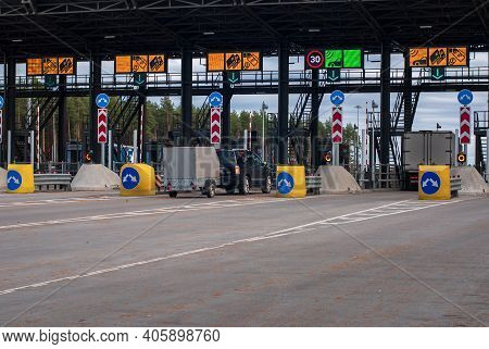 Off-road Vehicle With Trailer Pass By Toll Plaza At Toll Road, Tver Region, 15.10.2020