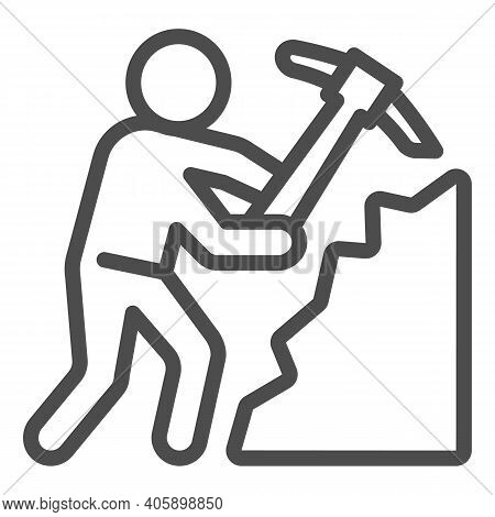 Miner With Pickaxe Line Icon, Labour Day Concept, Pile Of Coal And Man With Pickaxe Sign On White Ba