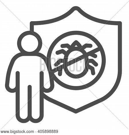 Man With Shield And Insect Line Icon, Pest Control Concept, Insect Control And Extermination Service