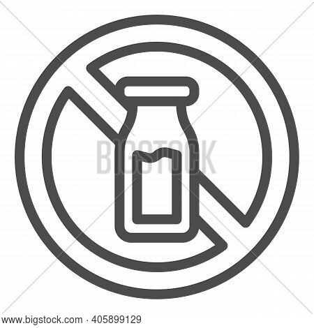 Salt Shaker With Forbidden Sign Line Icon, Diet Concept, Banned Salt Sign On White Background, Salt