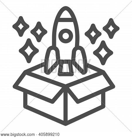 Product Packaging And Rocket With Stars Line Icon, Startup Concept, Product Release Sign On White Ba