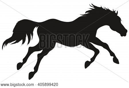Running Horse With Long Mane. Stallion Lowered Its Head And Gallops With Legs Stretched Out. Vector