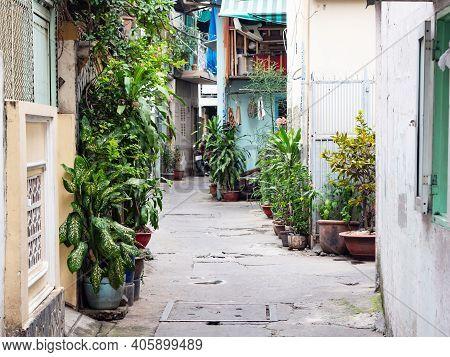 Narrow Backstreet In Residential Area Of Ho Chi Minh City, Vietnam. Backstreets Like This, Too Narro