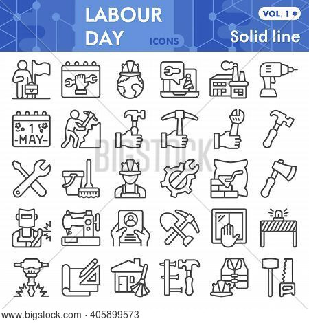 Labour Day Line Icon Set, Labor Day Symbols Collection Or Sketches. Industry And Workforce Linear St