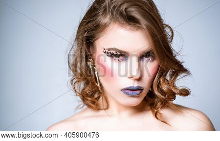 Want To Be Bright. Woman Makeup Face Dark Lips Red Cheek Curly Hair. Art Of Makeup. Makeup Courses.