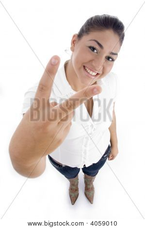 Young American Model Showing Winning Hand Gesture