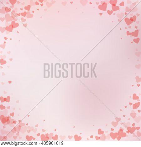 Red Heart Love Confettis. Valentine's Day Vignette
