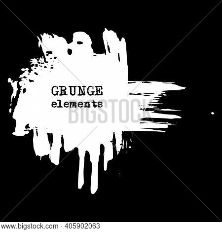 Vector Splats Splashes And Blobs Of White Ink Paint In Different Shapes Drips Isolated On Black