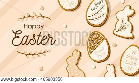 Happy Easter Greeting Card With Eggs And Rabbit Shaped Gingerbread Cookies In Glaze. Cute Homemade S