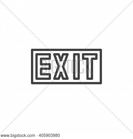 Exit Way Line Icon. Linear Style Sign For Mobile Concept And Web Design. Exit Outline Vector Icon. S