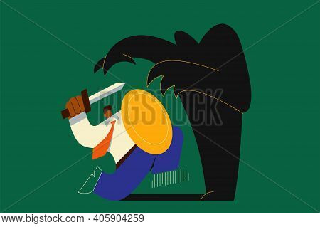 Fear, Challenge, Struggling With Inner Problems Concept. Businessman With Sword And Shield Fighting