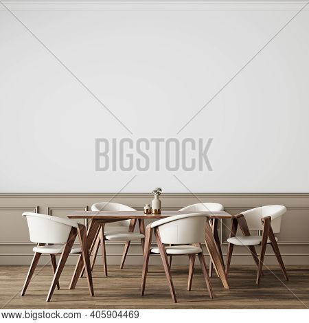 Classic White Interior With Dining Table, Wall Panel And Chairs. 3d Render Illustration Background M