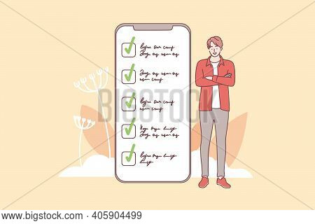 Successful Task Completion And Time Management Concept. Young Smiling Man Cartoon Character Standing