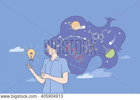 Physician Or Chemistry Worker Concept. Young Woman Scientist Standing With Light Bulb And Chemical S