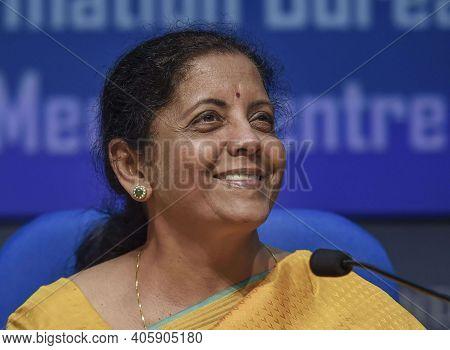 New Delhi,india, November 2020,indian Finance Minister Nirmala Sitharaman In Press Conference