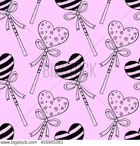 Vector Seamless Pattern From Heart Shape Lollipops, Gingerbreads On Stick With Bows. Hand Drawn Dood