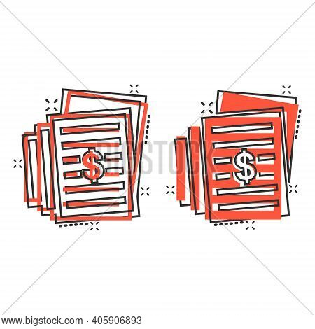 Financial Statement Icon In Comic Style. Document Cartoon Vector Illustration On White Isolated Back