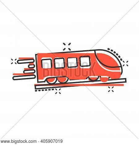 Metro Icon In Comic Style. Train Subway Cartoon Vector Illustration On White Isolated Background. Ra