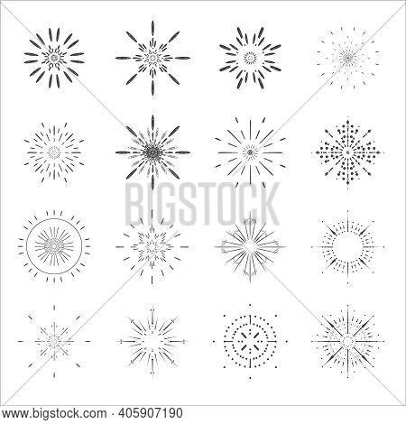 Lineart Sun Radiant Sunburst Icons Design Set Template Vector Illustration